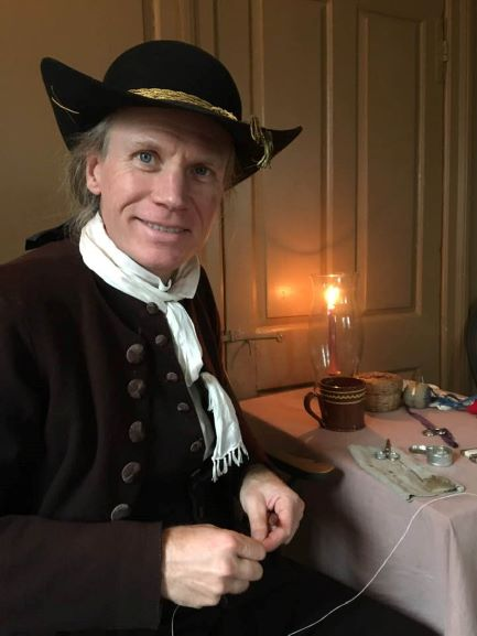 Wm. Booth, Draper demonstrating at the Colonel Paul Wentworth House in 2019.